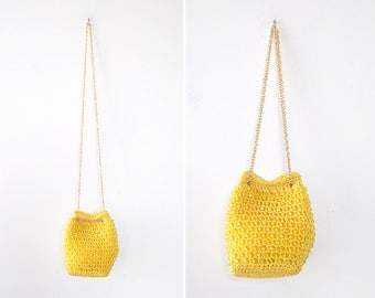 Vintage Crochet Purse • 60s Purse • Beaded Purse • Summer Purse • Crochet Crossbody Bag • Yellow Purse • Boho Crochet Bag | B847