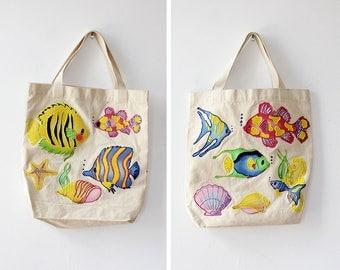 Vintage Tote Bag • Fish Tote Bag • Painted Tote Bag • 90s Tote Bag • Novelty Tote Bag • Beach Tote Bag • Novelty Bag | B932