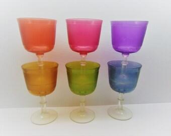 Vintage Plastic Pedestal Glasses