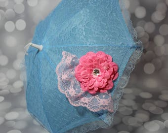 Blue Lace Umbrella with Pink Flowers - Flower Girl Parasol - Tea Party Sun Shade - Girls Blue Sun Parasol - Photo Prop - 17007