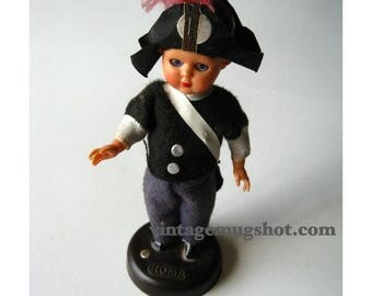 """Christmas In July SALE Vintage CELLULOID DOLL  Very Old Rome Plastiroma 5 1/2"""" italyEyes Move"""