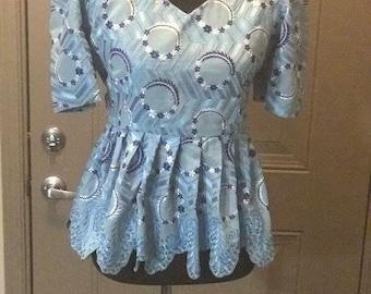 Blue Nigerian lace peplum top. Size 10