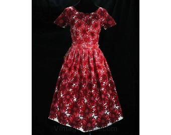 Size 12 Red Sun Dress - 1950s Perspective Print Floral Cotton - 50s Summer Frock - Rhinestone Bodice - NWT Deadstock - Waist 30 - 49074