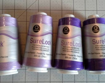 Coats SureLock Serger Thread, 4 Cones, Sewing Thread, Purple and Lavender
