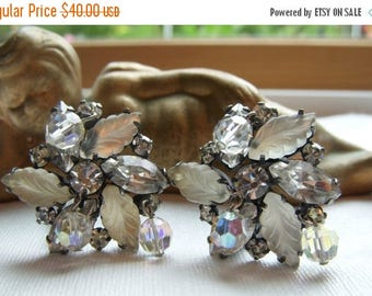 ANNIVERSARY SALE Japanned Kramer Earrings with Aurora Borealis Crystals