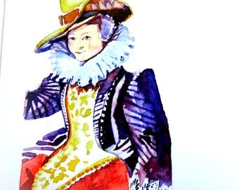 Original watercolor on card. Historic fashion.
