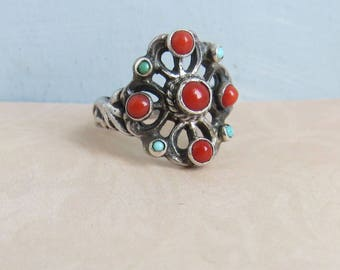 Arts and Crafts Austro Hungarian Sterling Silver Turquoise Coral Ring