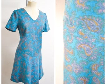 1960s Blue Paisley fine wool shift mini dress / 60s turquoise Viyella day dress - S