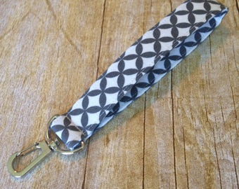 Wristlet Keychain / Fabric Keyfob / Key fob with swivel clip - Gray and White