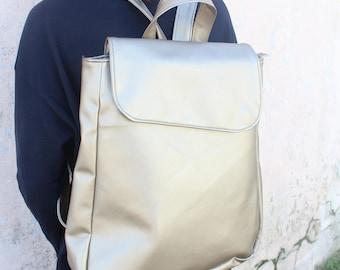 Womans backpacks, champagne vegan Backpack, Vegan Leather Backpack, Day pack, travel Rucksack, student Backpack, urban women backpack