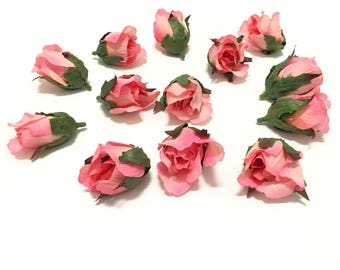 12 pink and cream rose buds silk flowers artificial flowers 12 coral pink rose buds silk flowers artificial flowers flower crown millinery mightylinksfo