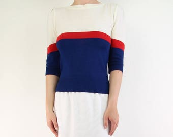 VINTAGE Red White Blue Stripe Knit Top 1970s