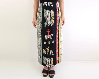 VINTAGE 1990s Printed Wrap Skirt Long
