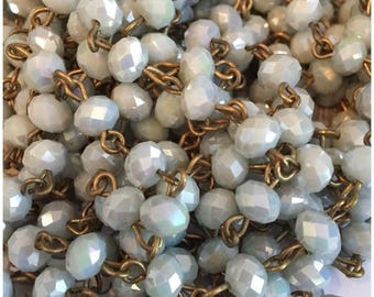 SALE Artisan assembled Handmade Beaded Chain French Bleu roundel 6x4 mm Faceted Crystal Beads