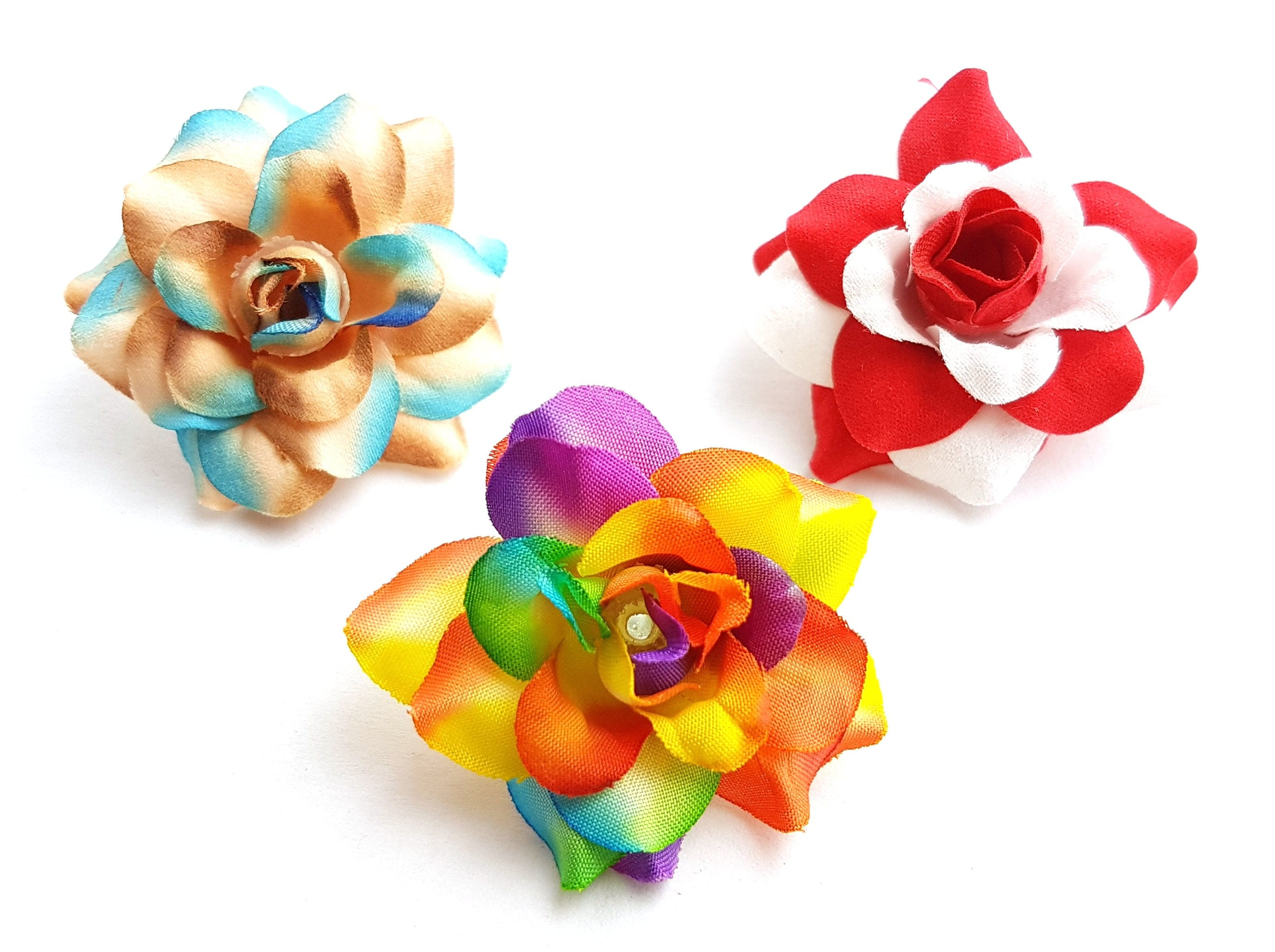 24pcs Two Tone Mix Small Rose Silk Flower Head Size 175 Inches For