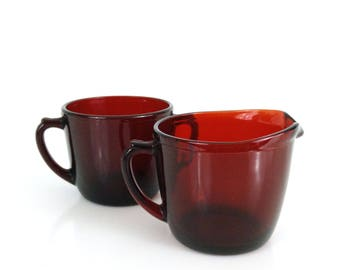 Royal Ruby Creamer Pitcher and Sugar Bowl by Anchor Hocking / Vintage Cream & Sugar Set
