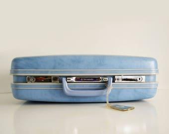 Samsonite Blue Hardside Suitcase / Overnight Bag / Vintage Luggage