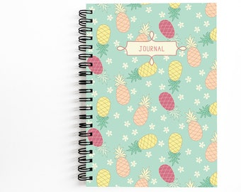 Trendy Pineapple Journal 5x7 Inches, Cute Spiral Notebook for Writing, Art by Christina Steward, 80 Unlined Sheets, Gift Ideas for Women