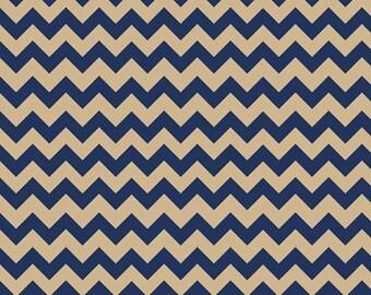 Winter Sale Riley Blake Fabric - 1 Yard of Small Chevron in Navy/Tan