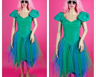 Vintage 1980s Green Mini Prom Dress with Puff Sleeves and Tulle Skirt