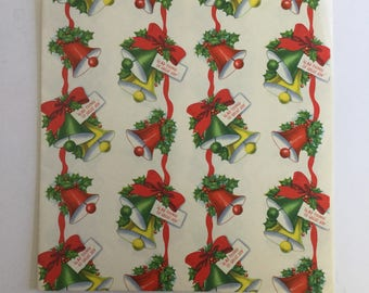 Vintage Christmas Wrapping Paper, Christmas Bells, Glad Tidings of Great Joy, Retro Gift Wrap, Retro Christmas, Vintage Gift Wrap