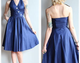 1950s Dress // Sapphire Campus Jrs Halter Dress // vintage 50s dress