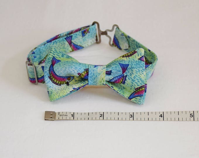Boy's pre-tied Bow Tie, leaping fish/blue green, father/son matching ties, wedding accessory, toddler bow tie, fish lover bow tie, LAST ONE