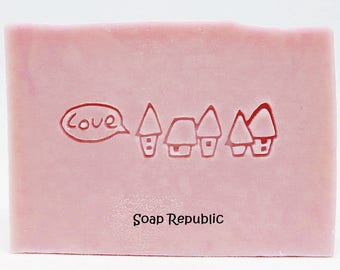 20% off ~ SoapRepublic 'Little Village Houses' Acrylic Soap Stamp / Cookie Stamp / Clay Stamp