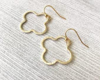 Gold Clover Earrings, Quatrefoil Minimalist Jewelry, Simple Dainty Drop Earrings, Lucky Charm, Modern Open Clovers, Boho Chic, Gift for Her