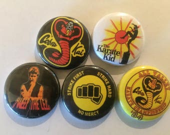 "Karate Kid 1"" Pins Buttons Badges Set of 5 Cult Film 1980s Cobra Kai Retro"