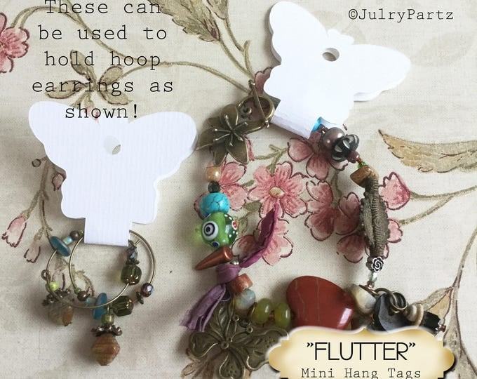30•3.5L x 2W•FLUTTER•Butterfly Hang Tags•Jewelry Cards•Earring Display•Necklace Tag•Hoop Earring Holder