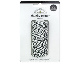 BLACK Chunky Baker's Twine - Cotton Twine - 20 yards - Favor Packaging - Doodlebug - Invitation supply