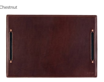 Chestnut Large Leather Desk Pad & Desk Protector l Leather Desk Mat