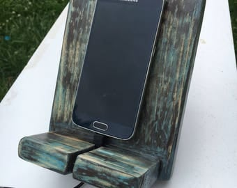 Stressed wooden phone stand-aqua, brown