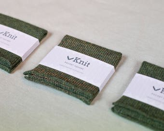Metallics Collection - Knitted Pocket Square - Green and Copper