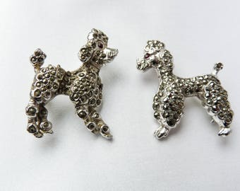 Two 1960s Vintage Marcasite French Poodle Brooches