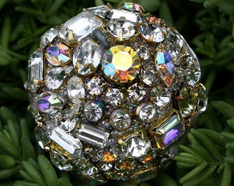 Vintage Crystals Rhinestones Ball Orb Sphere Encrusted Jewelry Ornament - Crystal, AB, Jewelry for the Home Original Art Decor
