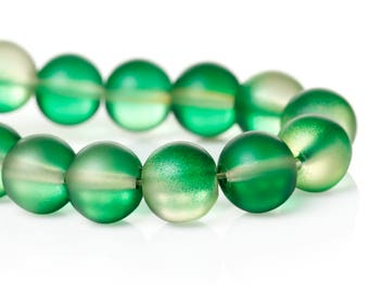 """42 Beads - 10mm Green and Clear Frosted Rubberized Glass Round Beads - 16"""" strand - Approx 41-42 beads per strand - Hole Size: 1.7mm"""