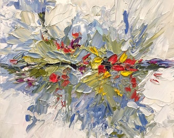 """Original abstract expressionism acrylic painting paperwork - """"Are we Out of the Woods Yet?"""""""