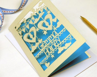 Personalised Papercut Twins Card, Laser Cut New Baby Twins Cards, sku_twins