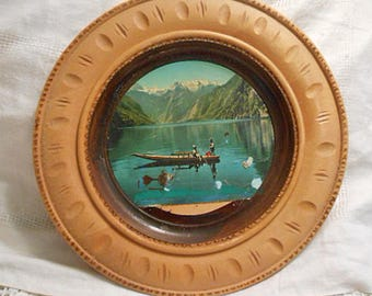 "Sturdy AUSTRIAN WOOD PLATE Maybe Maple Carved Border Scenic Lake Photo in Recessed Center, Natural Organic Color Wall Decor 12"" dia"
