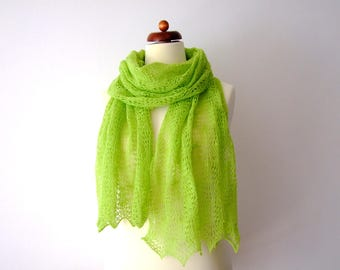 bright green shawl, delicate lace stole, fine wool wrap, green lace wedding shawl