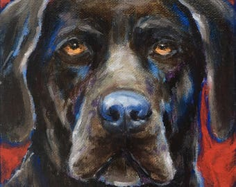 "Chocolate Lab 6x6"" Original Oil Painting on Gallery Wrapped Canvas, Dog Portrait"