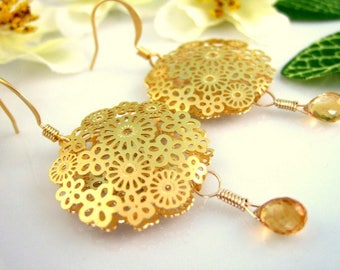 Gold floral lace citrine circle earrings, matte gold flower lace statement round earrings