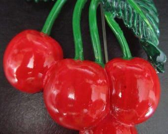 WEISS Reproduction Red & Green Enamel Rhinestone Cherries Pin