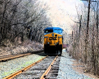 CSX Train passing through the  Fayette Station  West Virginia 16x20
