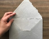 Large A9 Handmade Paper Wedding Stationery Sets, Deckle Edge Envelopes in Warm Grey Cotton Rag Handmade Paper