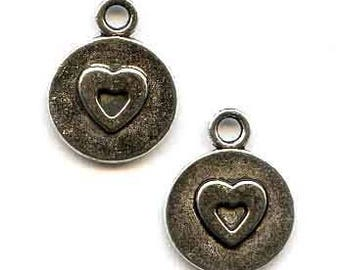 Pewter Heart Charms