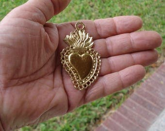 Hearts Milagros Charms 3 Gold Tone Sacred Mexican Milagro Charms ExVotos  Weddings Celebrations