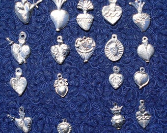 Hearts Milagros Charms Milagro Assorted Silver Tone Heart Wholesale 50
